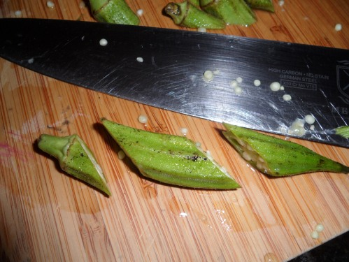 This is a piece of okra that is cut on the bias.  You are going to discard the top part of the okra.  Keep the bottom two pieces :)