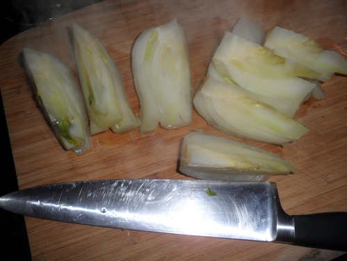 Fennel after I cut it into pieces for the dish