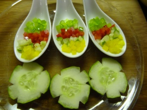 Garnishes ready for the Are You Spanish? Gazpacho Gluten Free
